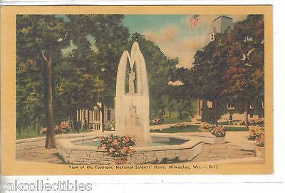View of The Fountain,National Soldiers' Home-Milwaukee,Wisconsin - Cakcollectibles