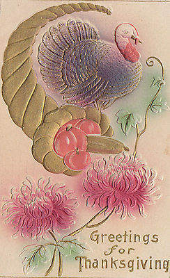 Greetings For Thanksgiving Cornacopia Turkey Flowers Postcard - Cakcollectibles - 1