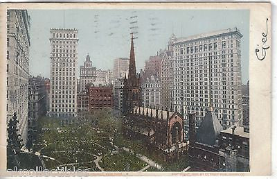 Skyscrapers Overshadowing Trinity Church-New York City 1906 - Cakcollectibles