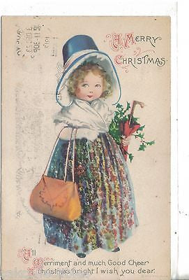 Vintage Christmas Postcards Christmas-Girl with Purse and Hat 1917 Clapsaddle vintage postcard front