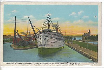 "Passenger Steamer ""Octorara"" leaving the Locks on The Lake Superior or High Leve - Cakcollectibles"