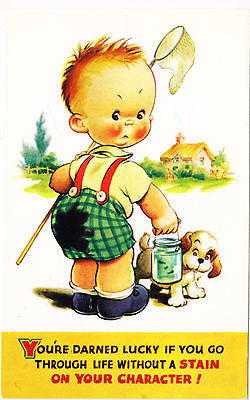 Boy Carrying Fishing Net And Bait With Puppy Postcard - Cakcollectibles