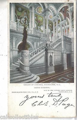 Grand Stairway,Library of Congress-Washington,D.C. 1906 - Cakcollectibles