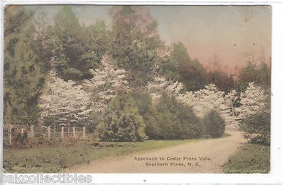 Approach to Cedar Pines Villa-Southern Pines,North Carolina (Hand Colored) - Cakcollectibles