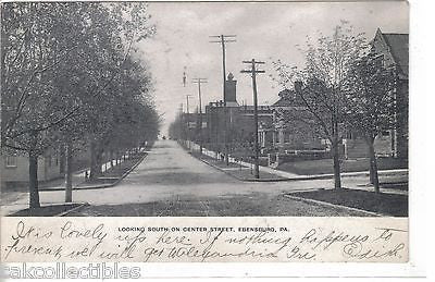 Looking South on Center Street-Ebensburg,Pennsylvania 1911 - Cakcollectibles - 1