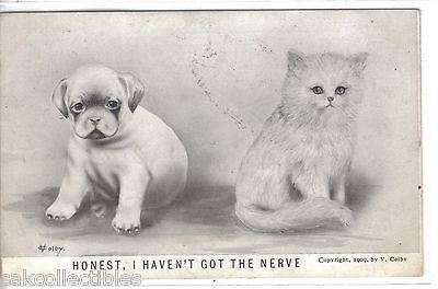 """Honest,I Haven't Got The Nerve""-Cat and Dog V.Colby - Cakcollectibles"