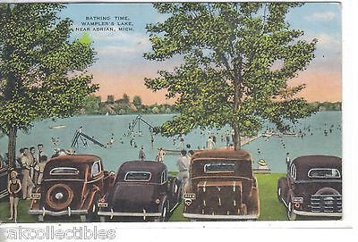 Bathing Time,Wampler's Lake near Adrian,Michigan 1948 (Old Cars) - Cakcollectibles - 1