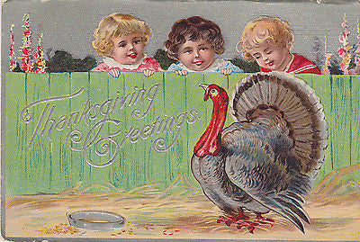 Thanksgiving Greetings Small Children With Turkey Postcard - Cakcollectibles - 1