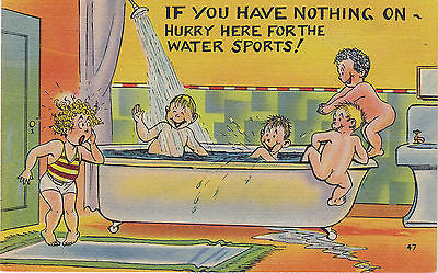 """Hurrry Here For The Water Sports"" Linen Comic Postcard - Cakcollectibles - 1"