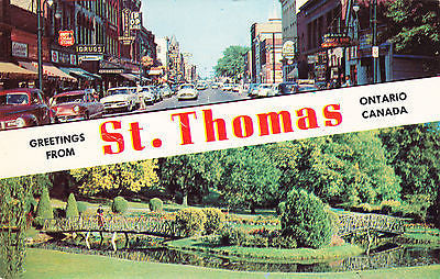 Greetings From St. Thomas Ontario Canada Postcard - Cakcollectibles