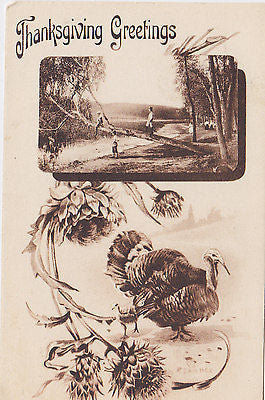 Fall Scene Children Mothers Turkey Thanksgiving Postcard - Cakcollectibles - 1