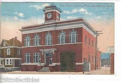 City Hall,Highland Park,No. Detroit,Michigan 1915 - Cakcollectibles - 1