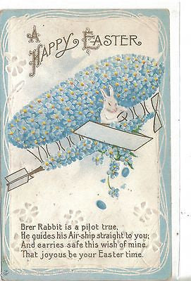 Easter Post Card-Bunny Flying Flower Airplane - Cakcollectibles - 1
