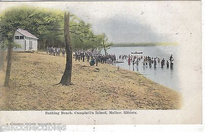 Bathing Beach,Campbell's Island-Moline,Illinois UDB - Cakcollectibles