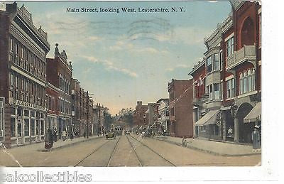 Main Street,Looking West-Lestershire,New York  1917 - Cakcollectibles - 1