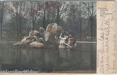 Fountain,Military Park-Indianapolis,Indiana 1907 - Cakcollectibles