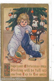 Christmas Post Card-Girl with Stocking-Marion Miller - Cakcollectibles - 1