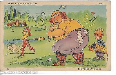 """We are Having A Ripping Time""-Woman Slits Pants Playing Golf 1937 - Cakcollectibles - 1"