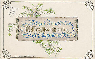 """A New Year Greeting""  John Winsch Postcard - Cakcollectibles - 1"
