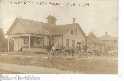 Creamery - North Branch, Michigan 1913 Horse and Buggies. Front of postcard- vintage post cards for sale