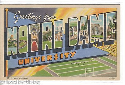 Large Letter Linen-Notre Dame University - Cakcollectibles