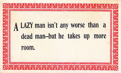 A Lazy Man Isn't Any Worse Comic Postcard - Cakcollectibles
