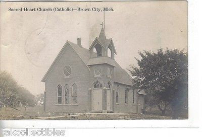 RPPC-Sacred Heart Church (Catholic)-Brown City,Michigan 1911 - Cakcollectibles - 1