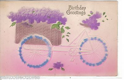 Birthday Greetings-Bicycle with Flower Wheels and Basket of Flowers - Cakcollectibles - 1
