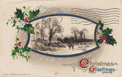 """Christmas Greetings"" Holly Scene John Winsch Postcard - Cakcollectibles - 1"