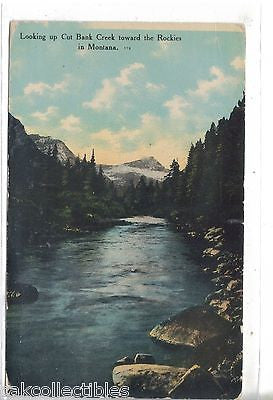 Looking Up Cut Bank Creek towards the Rockies in Montana 1912 - Cakcollectibles