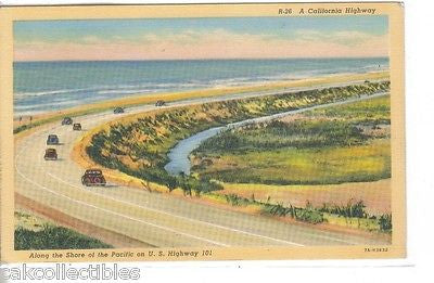 A California Highway along The Shore of The Pacific on U.S. Highway 101 - Cakcollectibles