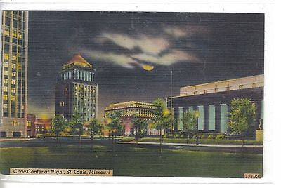 Civic Center at Night-St. Louis,Missouri 1946 - Cakcollectibles