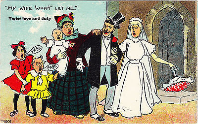 """ My Wife Won't Let Me "" Comic Postcard - Cakcollectibles"