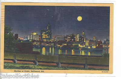 Skyline at Night-Baltimore,Maryland 1951 - Cakcollectibles