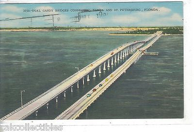 Dual Gandy Bridges connecting Tampa and St. Petersburg,Florida 1958 - Cakcollectibles
