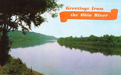 Greetings From The Ohio River Postcard - Cakcollectibles