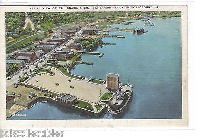 Aerial View of St. Ignace,Michigan-State Ferry Dock in Foreground - Cakcollectibles - 1