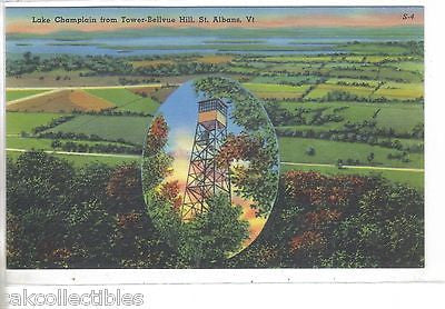 Lake Champlain from Tower-Bellvue Hill-St. Albans,Vermont - Cakcollectibles
