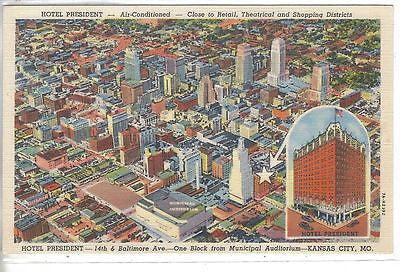 Aerial View of Kansas City,Missouri (Hotel President) - Cakcollectibles