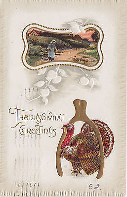 Thankgiving Greetings Turkey Wishbone Farm Scene Postcard - Cakcollectibles - 1