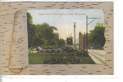 Flower Beds,Grand River Park-Milwaukee,Wisconsin 1908 (Bark Border) - Cakcollectibles