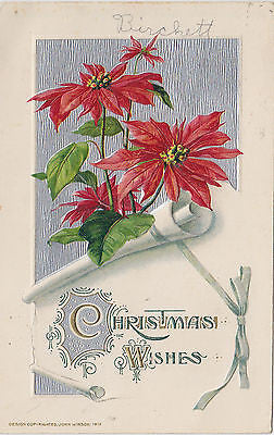 Pointsettia Embossed John Winsch Christmas Postcard - Cakcollectibles