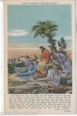 """Jesus Weeping Over Jerusalem""-Linen Post Card - Cakcollectibles"