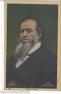 Brigham Young-Linen Post Card - Cakcollectibles