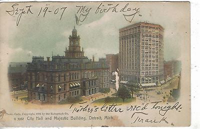 City Hall and Majestic Building-Detroit,Michigan 1907 - Cakcollectibles