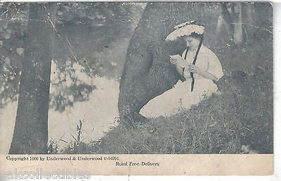 """Rural Free Delivery""-Woman sitting by tree reading letter UDB - Cakcollectibles"