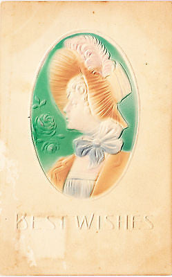 Best Wishes Greetings Cameo Lady Postcard - Cakcollectibles