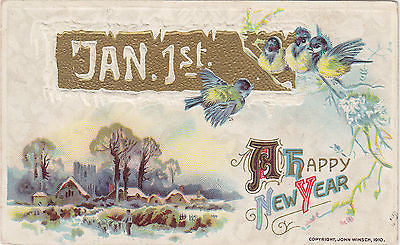Jan. 1st. A Happy New Year John Winsch Postcard - Cakcollectibles