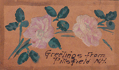 """Greetings From Pittsfield, N.H."" Comic Leather Postcard - Cakcollectibles - 1"