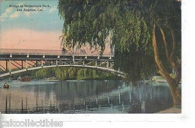 Bridge in Hollenbeck Park-Los Angeles,California 1914 - Cakcollectibles - 1
